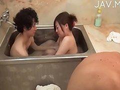 Busty Japanese teasing guy