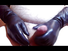 wanking with leather gloves