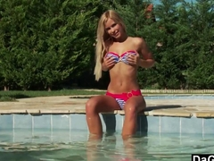 Cute Teen Lova By The Pool