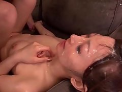 S lot of hot cum on her face