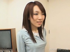 Teen Japanese sex doll getting pussy checked