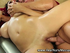 Massage horny bitch gets a cumshot