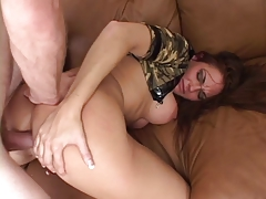 Stunning big tit slut rubs her shaved cunt and asshole before hard ass fuck