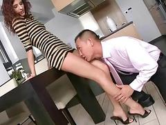 Leanna Sweet giving footjob and getting fucked