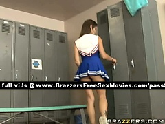 Super sexy teen cheerleader in the locker room