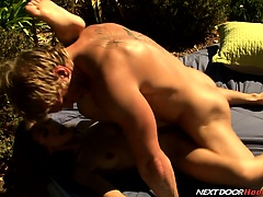 James pounds Heather with his massive cock until he cums!