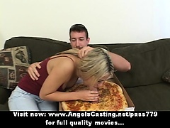 Hot bored blonde does blowjob for pizza guy with pizza on cock