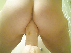 riding a thick dildo hard and gaping my ass