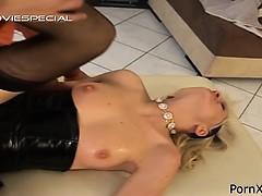 Lovely tight gal screwed rough with cock and dildo