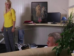 Sweet curvy blonde babe fucks an old ugly man!