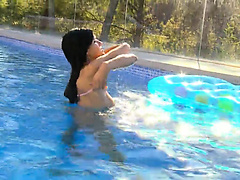Brunette czechian princess swimming