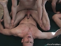 Very nasty and horny dudes are having hot group gay fun in