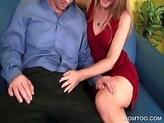 Hot MILF blowing penis on knees